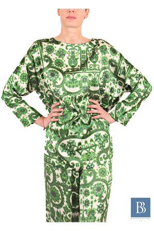 Tunica in seta con fantasia verde Laboratorio Capri   5032233   LAB124TUNICA KIMONO