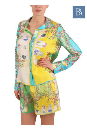 Pure silk shirt with exclusive print of Capri women Laboratorio Capri | 6 | LAB132DONNE DI CAPRI