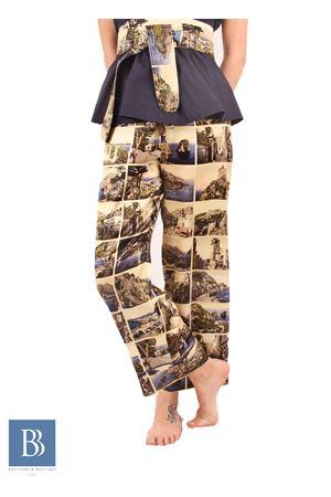 Pantalone alla caviglia in pura seta con stampa di antiche Cartoline Laboratorio Capri | 9 | LAB146CARTOLINE