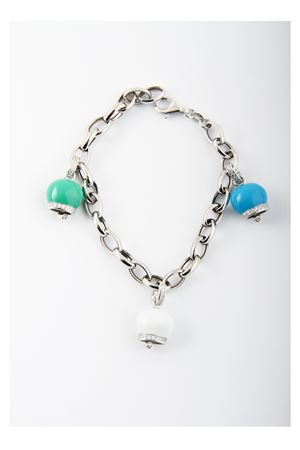 Silver bracelet with three silver Capri Bell pendants