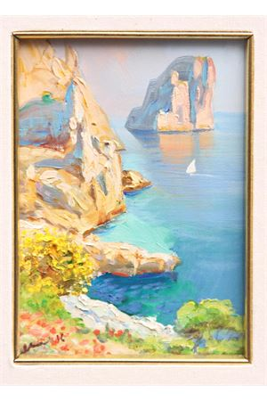 Oil on Canvas depicting Faraglioni of Capri Island Antonio Palomba | 20000003 | FONTELINAOLIO SU TELA 13X18