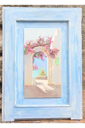Oil on ancient door - Positano view Antonio Palomba | 20000003 | POSITANO-ARTE41X57