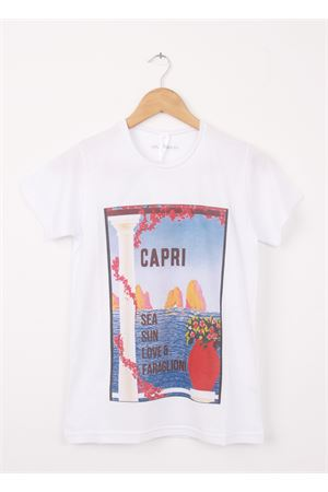 Cotton T-shirt Sea, Sun, Love and Faraglioni Aram V Capri | 8 | 1000002017AZZURRO