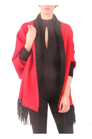 Red and black poncho jacket Aram V Capri | 3 | PNSEFFW16BRROSSO