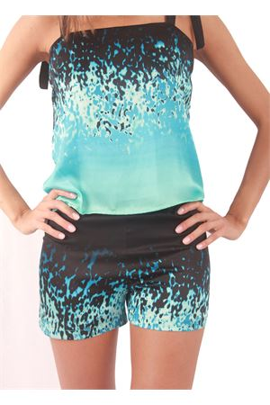 Silk shorts with turquoise print Capri Chic | 30 | SHORT MAREBLU