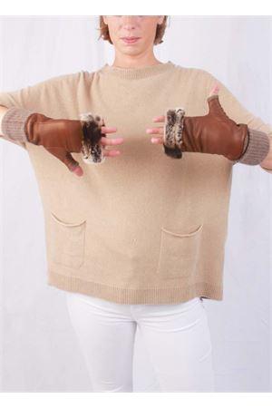 Guanti senza dita in pelle foderati in cachemere e lapin Capri Gloves | 34 | CG701MARRONE