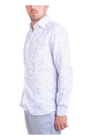 Pure linen shirt with light blue flowers Colori Di Capri   6   7429AZZURRO
