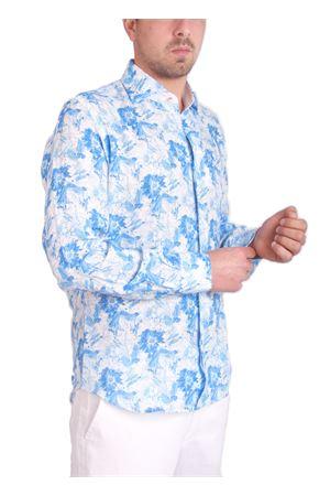 Pure linen shirt with flowers Colori Di Capri | 6 | FC772MLAZZURRO