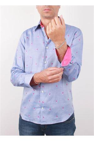 Men cotton shirt with flamingos pattern Colori Di Capri   6   FENICOTTEROSLIM PINK