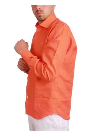 Orange linen shirt Colori Di Capri   6   LINUS0010AARANCIO
