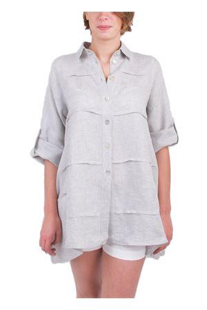 Camicia in lino grigio lavorata Colori Di Capri | 6 | MILUGRIGIO