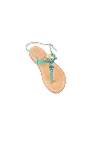 Green jewel capri sandals for babygirl Cuccurullo | 5032256 | BABY GIRL GREENVERDE