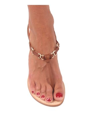 Brown Capri sandals with low heel Cuccurullo | 5032256 | FARFALLA HEELMARRONE