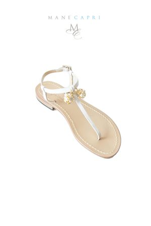 Handmade flat sandals with Lucky Capri Bells Da Costanzo | 5032256 | CAPRI BELL GOLD BRIDEBIANCO/ORO