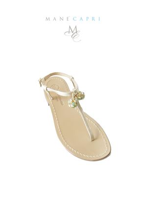 Handmade Capri sandals with Lucky Capri Bells Da Costanzo | 5032256 | CAPRI BELL GREENVERDE/ORO