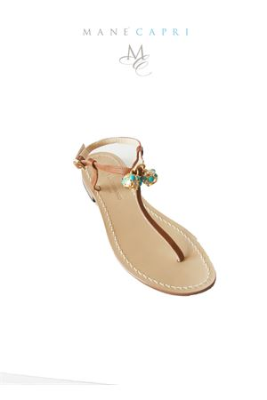 Handmade Capri sandals with Lucky Capri Bells Da Costanzo | 5032256 | CAPRI BELL TURQUOISETURCHESE/MARRONE