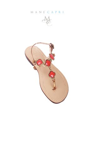 Red jewel Capri sandals Da Costanzo | 5032256 | M/61535ROSSO