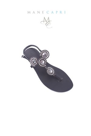 Black handmade Capri jewel sandals Da Costanzo | 5032256 | S2315NERO