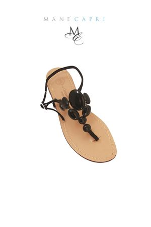 Handmade Capri sandals with black stones Da Costanzo | 5032256 | S2438NERO
