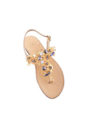 Jewel capri sandals with light blue Swarovski stones Da Costanzo | 5032256 | S3325BLU