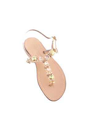 Elegant green and gold jewel Capri sandals Da Costanzo | 5032256 | S3333ORO