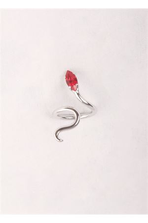 Brass ring snake shaped with red stone Da Costanzo | 5032250 | SNAKE RING SILVERROSSO
