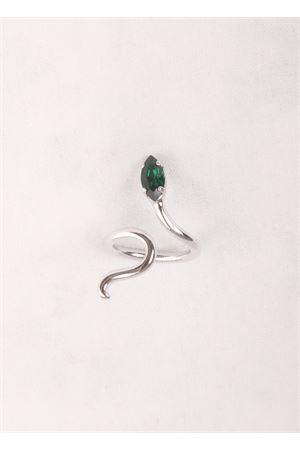 Anello in ottone con pietra verde a forma di serpente Da Costanzo | 5032250 | SNAKE RING SILVERVERDE