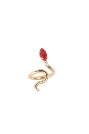 Handmade brass ring with Swarovski red stone Da Costanzo | 5032250 | SNAKERING GOLDROSSO