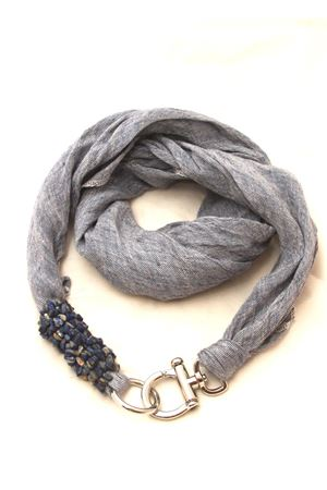 Pure linen scarf with hook closure Grakko Fashion | -709280361 | GRLIN2DENIM