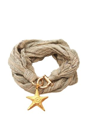 Linen scarf with star pendant Grakko Fashion | -709280361 | GRLIN3BLU MULTI