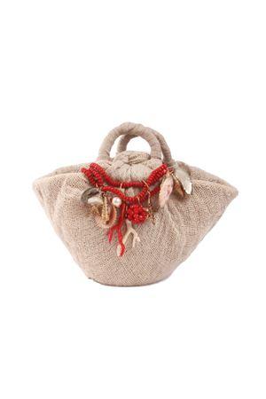 Borsa artigianale in puro lino con ciondoli di conchiglie Grakko Fashion | 31 | SHELL BAGROSSO
