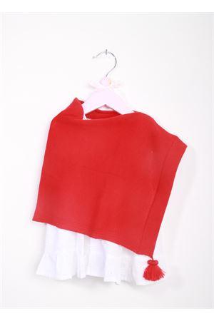 Poncho rosso per bambina in lana merino con pon pon La Bottega delle Idee | 52 | PONCHOBGE53