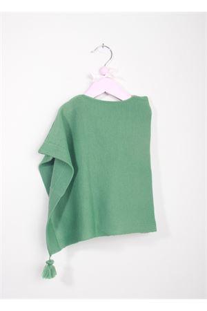 Poncho artigianale verde da bambina con pon pon La Bottega delle Idee | 52 | PONCHOBGP84