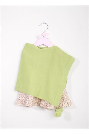Poncho verde in lana merinocon pon pon La Bottega delle Idee | 52 | PONCHOBGR93