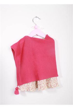 Poncho artigianale in lana merino rosa con pon pon La Bottega delle Idee | 52 | PONCHOBGS103