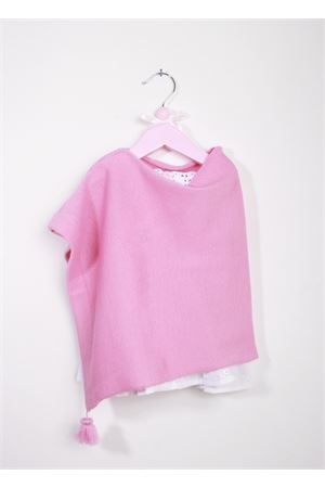 Poncho artigianale da bambina rosa decorato con pon pon La Bottega delle Idee | 52 | PONCHOBGS106