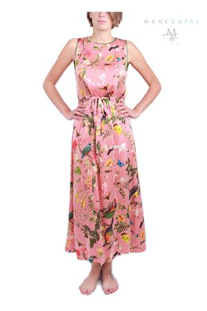 Long silk dress with tropical pattern  Laboratorio Capri | 5032262 | ABITO LUNGO TROPICAPRIROSSO