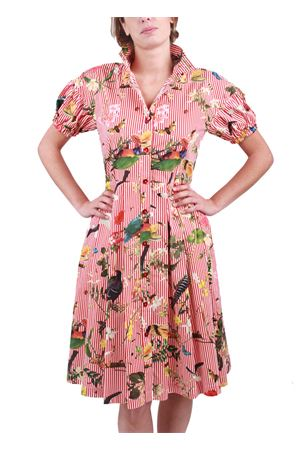 Tropical pattern sartorial dress Laboratorio Capri | 5032262 | ABITO MANICA SBUFFOROSSO