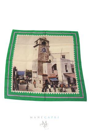 Foulard in pura seta francobollo Piazzetta di Capri Laboratorio Capri | -709280361 | FRANCOBOLLO VERDE CAMPANILEVERDE