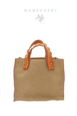 Borsa in canvas e coccordillo con manico marrone chiaro Laboratorio Capri | 31 | LAB CANVAS SMALLBECCO D