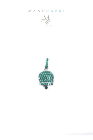 Campanella di Capri portafortuna in argento e zirconi verde smeraldo Manè Capri | 20000055 | MANEBELL3VERDE