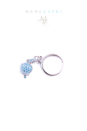 Adjustable ring with light blue zircons and silver Capri bell charm Manè Capri | 5032250 | MANERING2AZZURRO