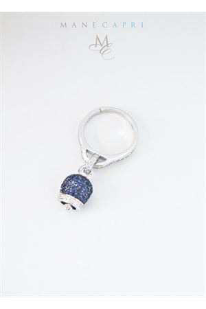 Adjustable silver ring with blue Capri bell charm Manè Capri | 5032250 | MANERINGZIRBLU