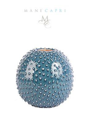 Riccio portacandela blu in ceramica artigianale Manè Capri | 20000025 | RICCIO BIGBLU