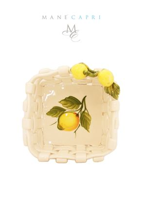 Ceramic basket for the table decorated with Capri lemons Sea Gull Capri   20000026   CESTO LIMONICM 16X16