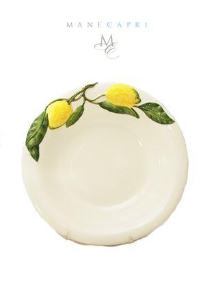 Ceramic soup dish with lemons Sea Gull Capri | 20000026 | FONDO LIMONILIMONI 25 CM
