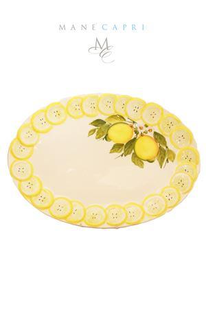 Piatto da portata dipinto a mano con limoni capresi Sea Gull Capri | 20000026 | OV. LIM. PORTATALIMONI