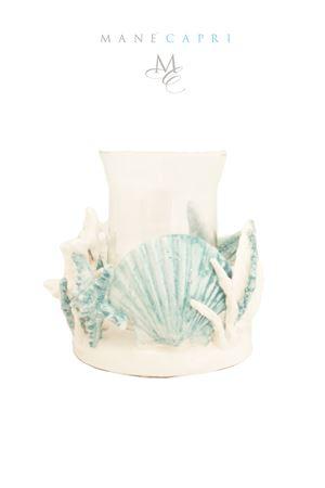 Ceramic and glass candle-holder Sea Gull Capri | 20000025 | P,CANEDELE 18X15CM 18X15