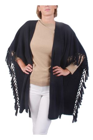 Cachemire and wool fringes blue jacket Art Tricot | 3 | D7171 FRINGEBLUE