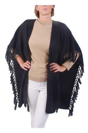 Giacca frange in cachemire e lana blu Art Tricot | 3 | D7171 FRINGEBLUE